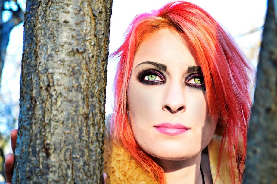 Punk-rock-chick rocker-girl pink purple orange green-eyes